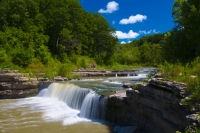 Waterfall;Creek;Stream;River;Moving-water;Indiana;Midwest;Green;Water