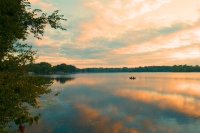Sunrise;Lake;reflection;blue;gold;Indiana;Nyona-Lake;Midwest;Fulton-County;fishermen