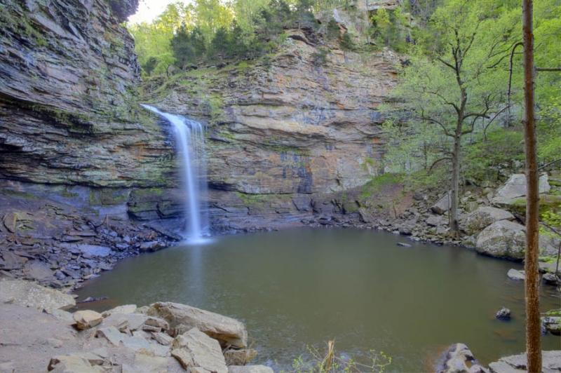 mountains;ozarks;petit jean;state park;state park;ar;arkansas;forest;trees;horizontal;green;waterfall;water