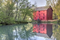 red;green;horizontal;fall;trees;building;water;mill;alley-mill;alley-spring;eminence;mo;missouri