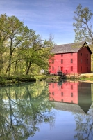 red;green;yellow;Vertical;fall;trees;building;water;mill;alley-mill;alley-spring;eminence;mo;missour