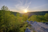 sunset;mountains;ozarks;petit-jean;national-park;ar;arkansas;forest;trees;sky;horizontal;green;blue;
