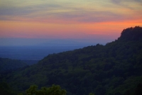 sunset;mountains;ozarks;petit-jean;national-park;ar;arkansas;forest;trees;sky;horizontal;blue;mauve;